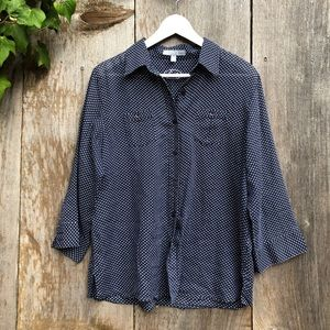 Foxcrofts blue polka dot button down shirt